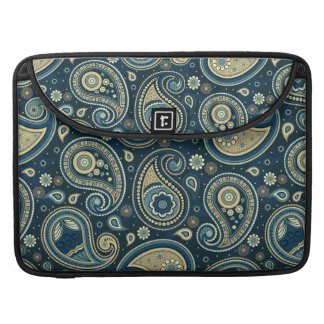 Paisley pattern blue teal gold elegant sleeve for MacBooks