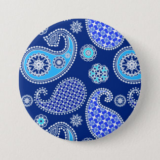 Paisley pattern, cobalt blue and white pinback button