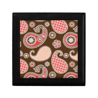 Paisley pattern, coral and chocolate brown keepsake box