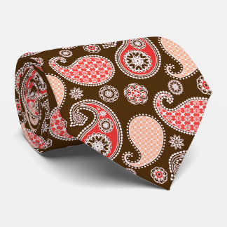 Paisley pattern, coral and chocolate brown tie
