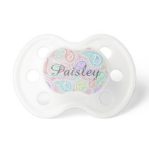 Paisley Pattern custom Pink Teal Floral Swirl Pacifier