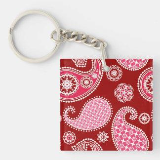 Paisley pattern, Dark Red, Pink and White Keychain