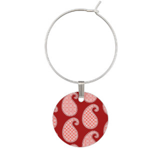Paisley pattern, deep red and white wine charm