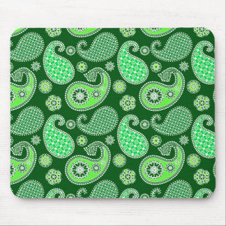 Paisley pattern, Emerald and Jade Green Mouse Pad