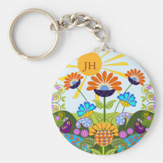 Paisley pattern, Fantasy Flowers & custom Monogram Keychain