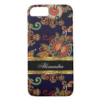 Paisley Pattern Floral Blue Red Brown Gold iPhone 7 Case