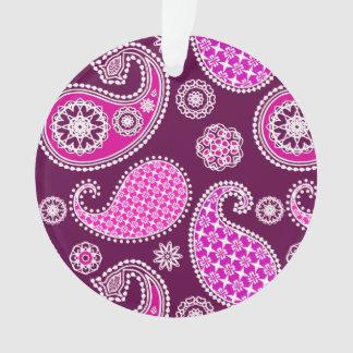 Paisley pattern, fuchsia pink, purple and white ornament