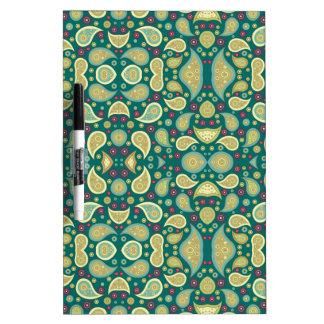Paisley Pattern Girly Green Retro Floral Swirl Dry-Erase Board