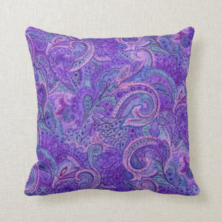 Paisley Pattern in Blue and Purple Throw Pillow