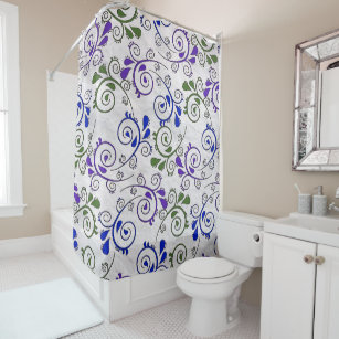 Paisley Pattern In Green And Purple Shower Curtain