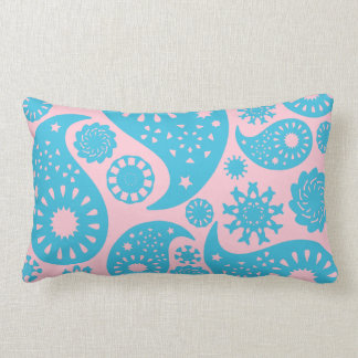 Paisley Pattern in Pink and Turquoise Blue. Pillow