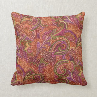 Paisley Pattern in Red and Purple Throw Pillow