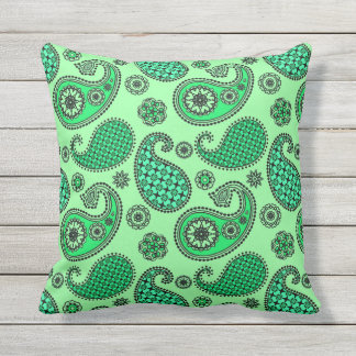 paisley pattern jade and mint green throw pillow