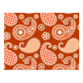 Paisley pattern, Mandarin Orange and White Postcard