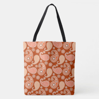 Paisley pattern, Mandarin Orange and White Tote Bag