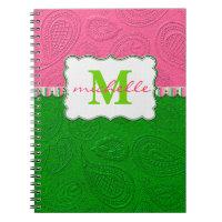 Paisley Pattern Monogram Notebook