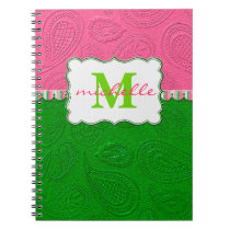 Paisley Pattern Monogram Notebook