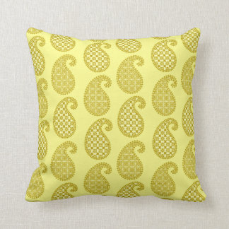 paisley pattern mustard and pale yellow throw pillow
