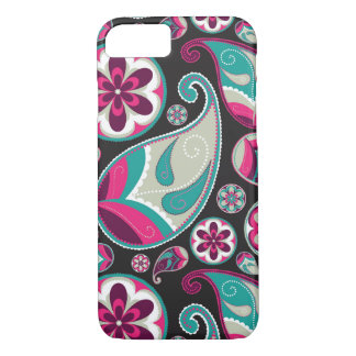 Paisley Pattern Pink and Teal iPhone 8/7 Case