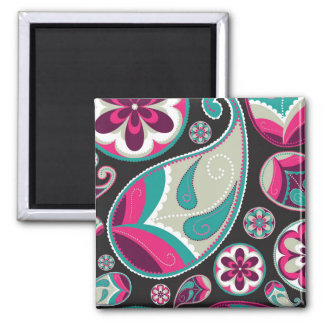 Paisley Pattern Pink and Teal Magnet