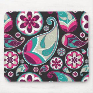 Paisley Pattern Pink and Teal Mouse Pad