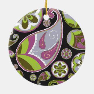 Paisley Pattern Purple Green Ceramic Ornament