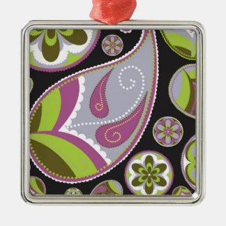 Paisley Pattern Purple Green Metal Ornament