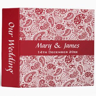 Paisley Pattern Red Green Elegant Wedding Binder