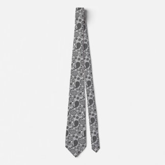 Paisley pattern, shades of grey, black and white tie
