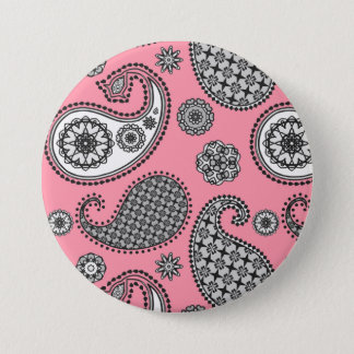 Paisley pattern, shades of grey on pink pinback button