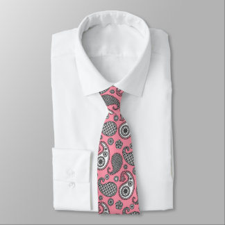 Paisley pattern, shades of grey on pink tie