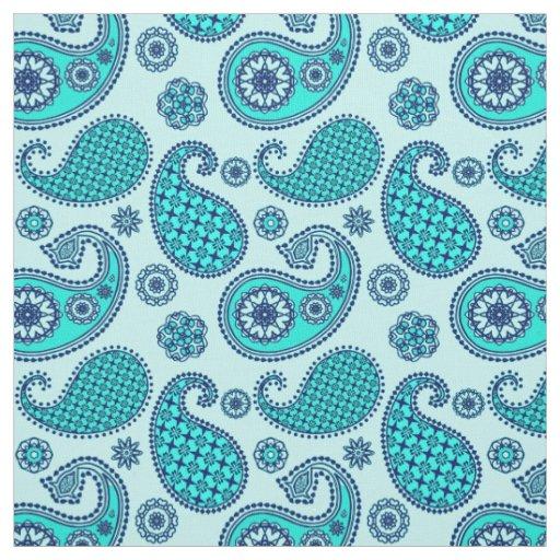 Paisley Pattern Turquoise Aqua And Navy Fabric Zazzle