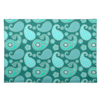 Paisley pattern, Turquoise, Aqua and White Placemat