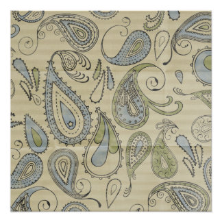 Paisley Pattern with Creased Background Poster