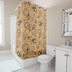 Paisley Pattern Yellow Teal Brown Shower Curtain