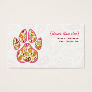 Paisley Paw Print Business Card