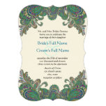 Paisley Peacock Colors Die Cut Wedding Invitation