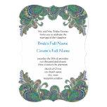 "Paisley Peacock Colors Die Cut Wedding Invitation 5"" X 7"" Invitation Card"
