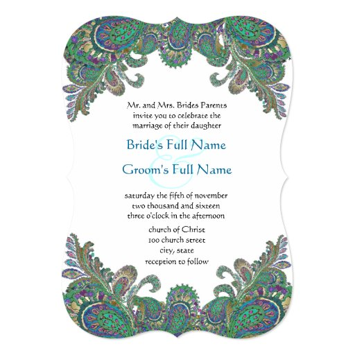 "Paisley Peacock Colors Die Cut Wedding Invitation 5"" X 7"" Invitation Card"
