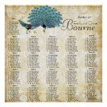 Paisley Peacock Colors Reception Seating Chart Posters