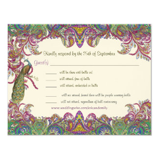 Paisley Peacock Colors RSVP 4.25x5.5 Paper Invitation Card