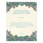 Paisley Peacock Colors Wedding Direction Reception Custom Announcements
