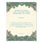 Paisley Peacock Colors Wedding Direction Reception 4.25x5.5 Paper Invitation Card