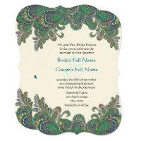 Paisley Peacock Colors Wedding Invitation