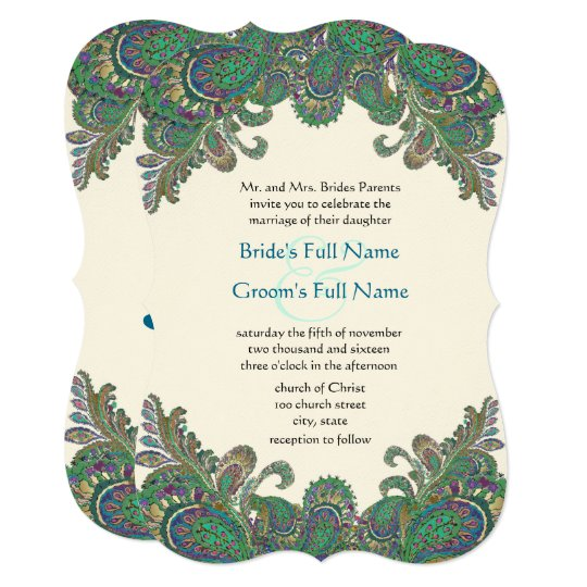 Paisley Peacock Colors Wedding Invitation