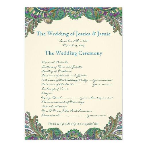 "Paisley Peacock Colors Wedding Program 5.5"" X 7.5"" Invitation Card"