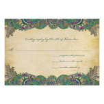 Paisley Peacock Colors Wedding Response Cards Custom Announcements