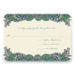 Paisley Peacock Colors Wedding Response Cards Custom Invitation