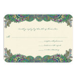 "Paisley Peacock Colors Wedding Response Cards 3.5"" X 5"" Invitation Card"
