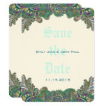 Paisley Peacock Colors Wedding Save the Date Card
